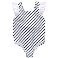 1-2T Baby Girls Swimwear One-Piece Swimsuit Stripe Backless Beach Romper