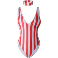 Women Swimsuit Striped One-Piece Swimwear Suits Push-Up Summer Bathing Beachwear Jumpsuits Monokini With Neck Ring 3 Colors